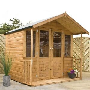 7 x 7 SUMMERHOUSE 7ft x 7ft NEW GARDEN WOODEN SUMMER HOUSE TONGUE & GROOVE