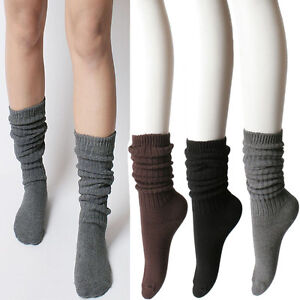 Fall-Winter-Thick-Warm-Ribbed-Cotton-Slouch-Knit-Sweater-Ankle-Calf-High-Socks