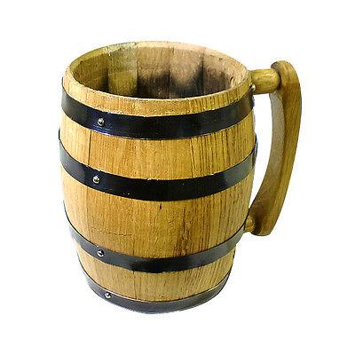 Oak Barrel Mug - 1 Liter - Specialty Handcrafted Beer Cup Glassware - Gift Item