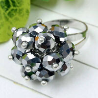 Silvery Crystal Rhinestone Glass Faceted Beads Adjustable Ring