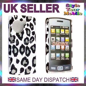 FOR LG VIEWTY SNAP GM360 BLACK AND WHITE LEOPARD HARD CASE COVER