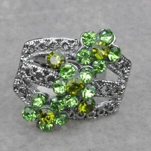 Fancy Malachite Adjustable Flower Cocktail Ring--NEW!!