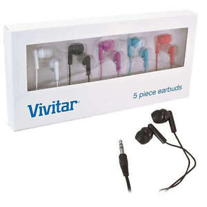 New-5-Pack-Vivitar-Earbud-Noise-Isolating-Headphones-Red-Blue-Pink-Black-White