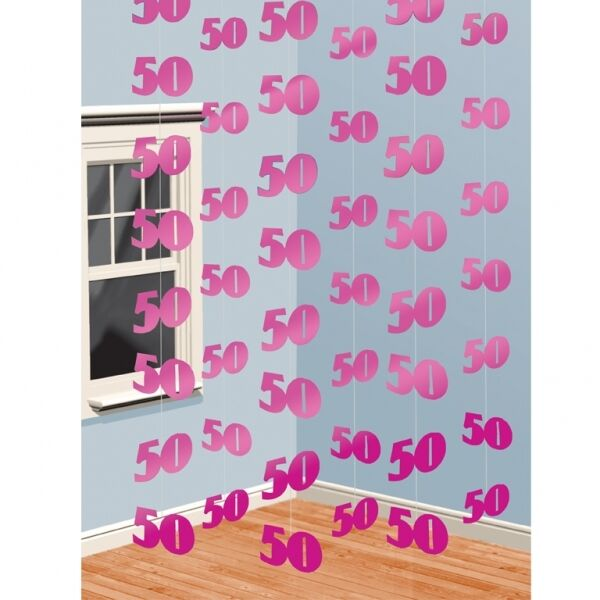 Pack Of 6 Pink 50TH birthday String Decorations Ideal party Decorations foil