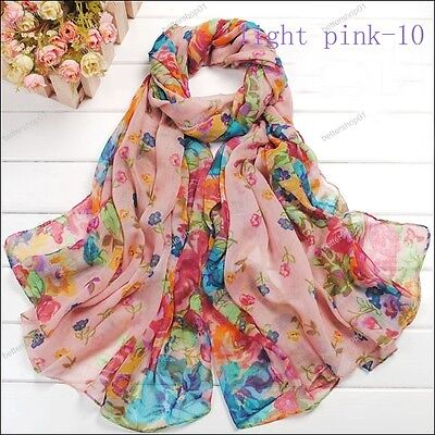Fashion Long Cotton Voile Floral Shawl Scarf Wrap Stole For Girls/Lady on Rummage