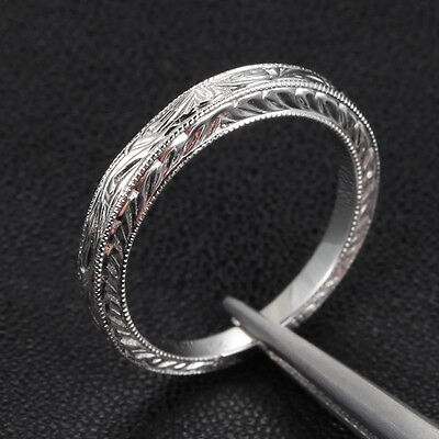 Hand Engraved Art Deco  Antique Style 14K White gold Engagement Wedding Ring