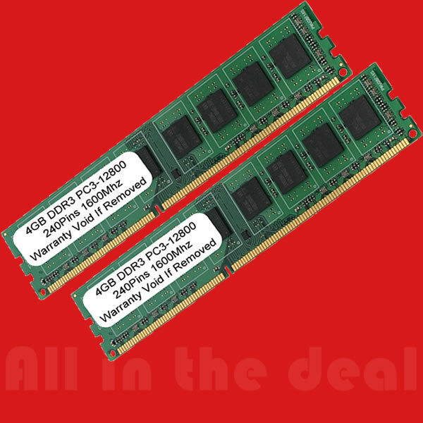 8GB 2x 4GB DDR3 1600MHz PC3-12800 DESKTOP Memory Non ECC 1600 Low Density RAM 8G