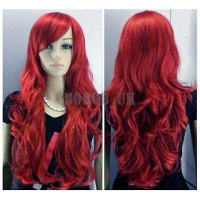 SEXY LONG WINE RED LADY FASHION LOOSE FULL WIG NEW FANCY DRESS