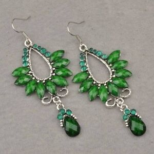 Floral Vintage Tibet Silver Swarovski Crystal Dangle Earrings-