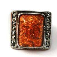 Tibetan Silver Retro Square Gems Diamante Cocktail Ring-NEW!!
