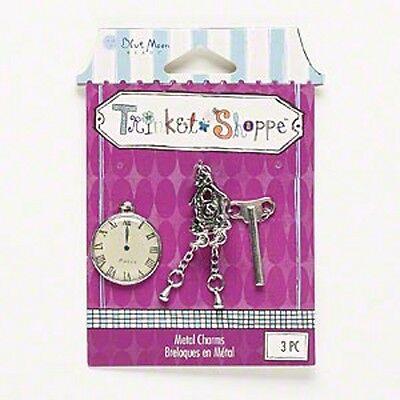 3 Pcs Set Wholesale Steampunk Antiqued Silver Key Cuckoo Clock Charm Pendants