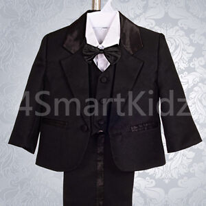 5pc Set Formal Suits Outfits Christening Wedding Page Boy Black Sz 00-3 ST022