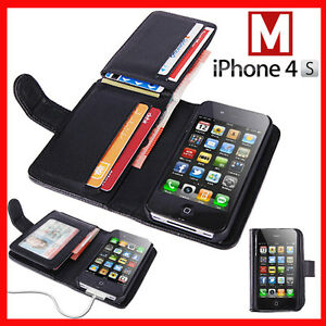 GENUINE LEATHER WALLET CARD IWALLETCASE FLIP CASE COVER FOR APPLE IPHONE 4S S 4