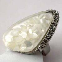 MOP Shell Teardrop Crystal Diamante Ring--NEW!