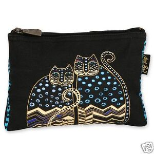 Laurel-Burch-Polka-Dot-Cats-Canvas-Black-White-Blue-Cosmetic-Zipper-Case-New