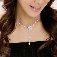 Fashion Lovely Camellia Rhinestone Tassels Necklace--NEW!!