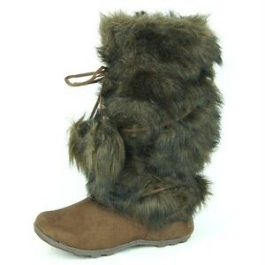 Womens-Winter-Mid-Calf-Fur-Flat-Boots-Mukluk-Eskimo-Brown-6-11US