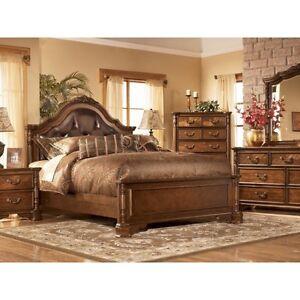 Ashley San Martin Elegant Wood w Leather King Bedroom Set