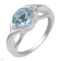 NEW RING W / GENUINE SKY BLUE TOPAZ CRAFTED IN  STERLING SILVER