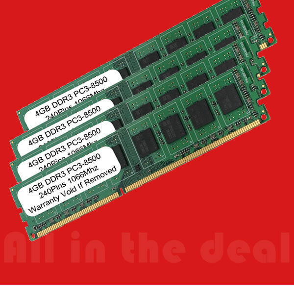 16gb Pc3-8500 1066 Mhz Ddr3 240-pin Desktop Memory Ram