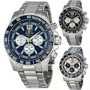 Invicta-Signature-II-Chronograph-Mens-Watch-Blue-Black-Stainless-Steel