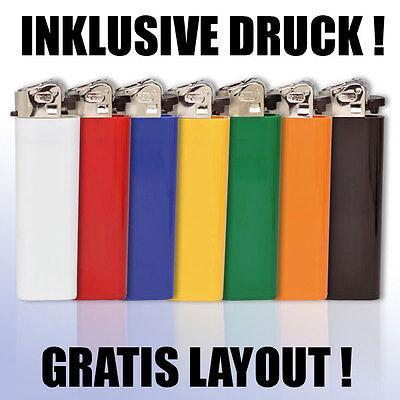 100 Marken Feuerzeuge Mit Druck / Werbung / Logo Beidseitig / Gestaltung Gratis