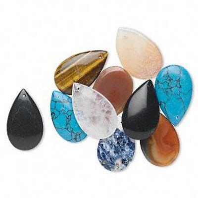 Wholesale Bulk Lot Gemstone Teardrop Pendant Jewelry 10 Pieces