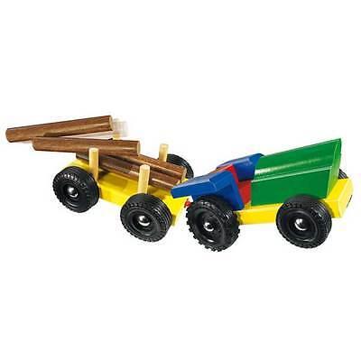 Bunter Traktor mit Anhänger (Holz)  L=29 cm *NEU + OVP*