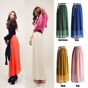 Retro-Long-Maxi-Pleated-Skirt-Elastic-Waist-Band-Chiffon-Gypsy-Dress-summer