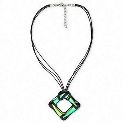 Wholesale Dichroic Glass Aqua/black Pendant Necklace