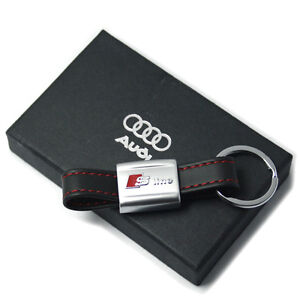 AUDI-S-LINE-LEATHER-KEYRING-NEW-IN-GIFT-BOX-A1-A3-A4-A5-A6-TDI