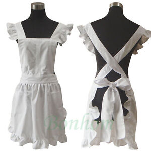 Women's Lolita Apron - French Maid White Vintage Kitchen Apron - Victorian Style