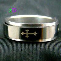 Men's Cross Stainless Steel Spin Ring-NEW!!