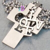 Vogue Stainless Steel Cross Love Pendant--NEW!
