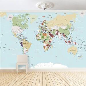 Foto mural gran mapa del mundo foto papel pintado mundo no - El mundo del papel pintado ...