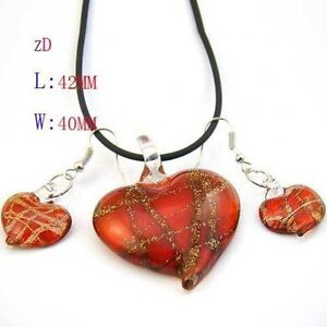 Red Murano Lampwork Glass Heart Bead Necklace Earrings set-NEW!!