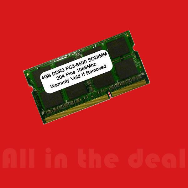 4gb Ddr 3 1066mhz Pc 8500 Sodimm 4 Laptop Ram Mem