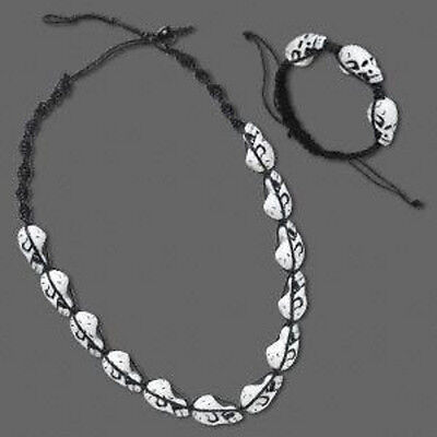 Wholesale Black & White Skulls Necklace & Bracelet Set Halloween Jewelry