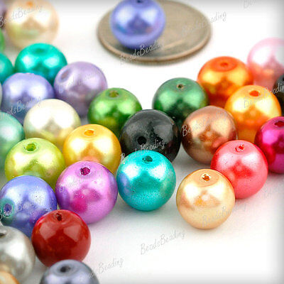 200 Mixed Assorted Jewelry DIY Glass Pearls Round Spacer Loose Beads 8mm GP0243