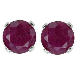 1-20-Ct-5MM-925-Sterling-Silver-Genuine-Round-Red-Ruby-Stud-Earrings