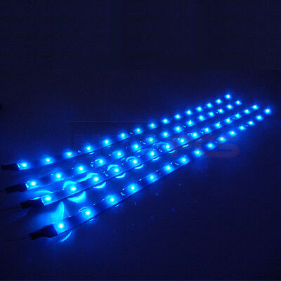 4x Waterproof 15 LED 30cm Car Lighting Flexible Decorative Light Lamp Strip BLUE on Rummage