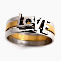 LOVE STAINLESS STEEL SILVER BAND RING SZ 10.5--NEW!!