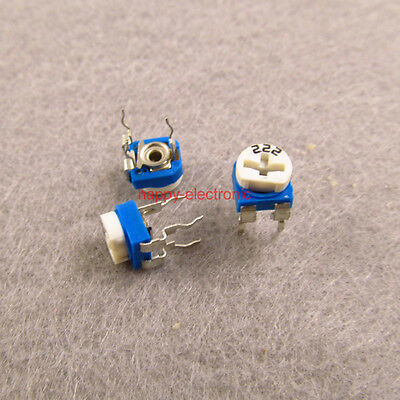 20pcs 2.2k Ohm Trimmer Trim Pot Single Turn Top Adjust Variable Resistor 222