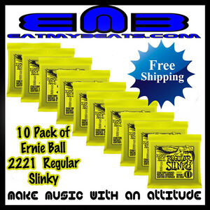 Ernie-Ball-Regular-Slinky-Lime-2221-Guitar-Strings-10-pack-Free-Shipping