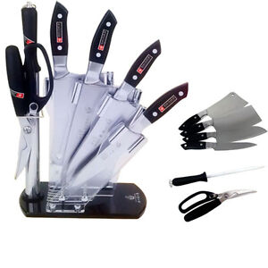 Luxury Stainless Steel 7PC Kitchen Knife Block Gift Set knive scissor Sharpener