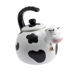 Cow Whimsical Whistling Tea Kettle Heavy Gauge Stainless Steel Enamel Finish