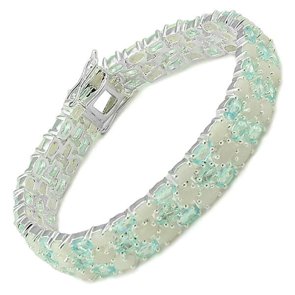 27.85ctw Genuine Blue Topaz and Opal Bracelet Made in 925 Sterling Silver RETAIL