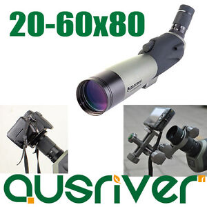 celestron waterproof 20 60x80 spotting scope 8 24mm zoom eyepiece tripod camera ebay. Black Bedroom Furniture Sets. Home Design Ideas