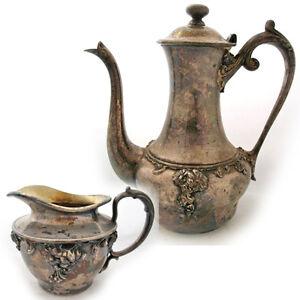 Vintage-Antique-BARBOUR-SILVER-CO-QUADRUPLE-SILVERPLATE-Coffee-Tea-Creamer-SET