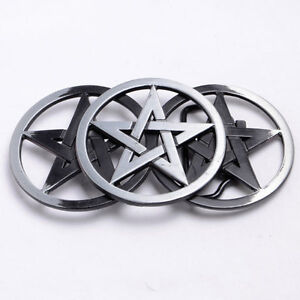3 Steel & Black Pentagram Stars Belt Buckle 5055256128171